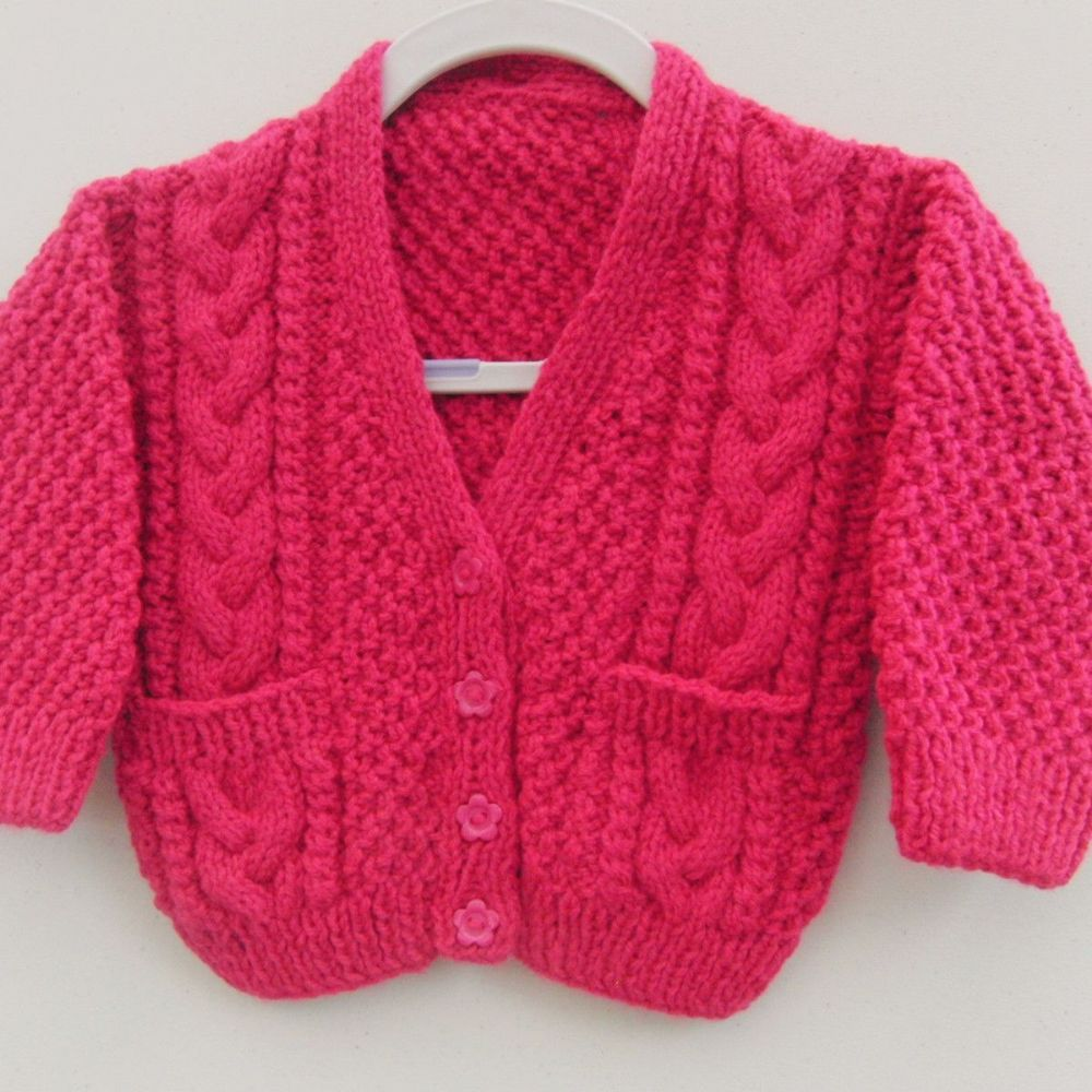 Knitted unisex cabled cardigan with pockets knitted baby