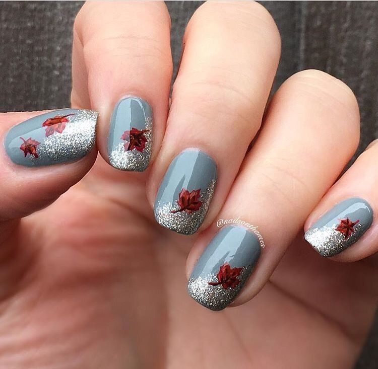 These Colors Are So Unique For A Fall Manicure Love It Mani By Nailsonthames Using Our Autumn Le Fall Nail Art Designs Fall Gel Nails Thanksgiving Nail Art