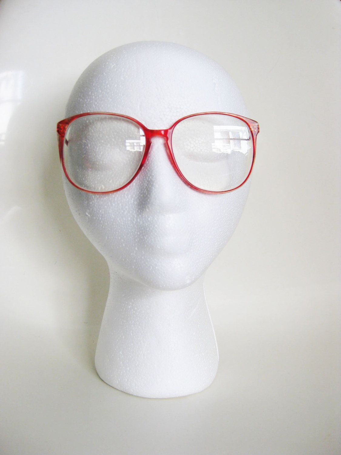 Vintage CHERRY RED Glasses Eyeglasses ROUND 1980s Sunglasses Oversized Eighties Large Indie Hipster. $38.00, via Etsy.