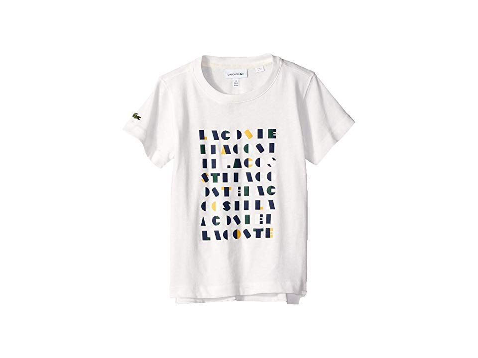 581be9226 Lacoste Kids Short Sleeve Lacoste Wording Print Tee Shirt (Toddler Little  Kids Big Kids) (Flour) Boy s T Shirt. Bring city flair to his classic style  in ...