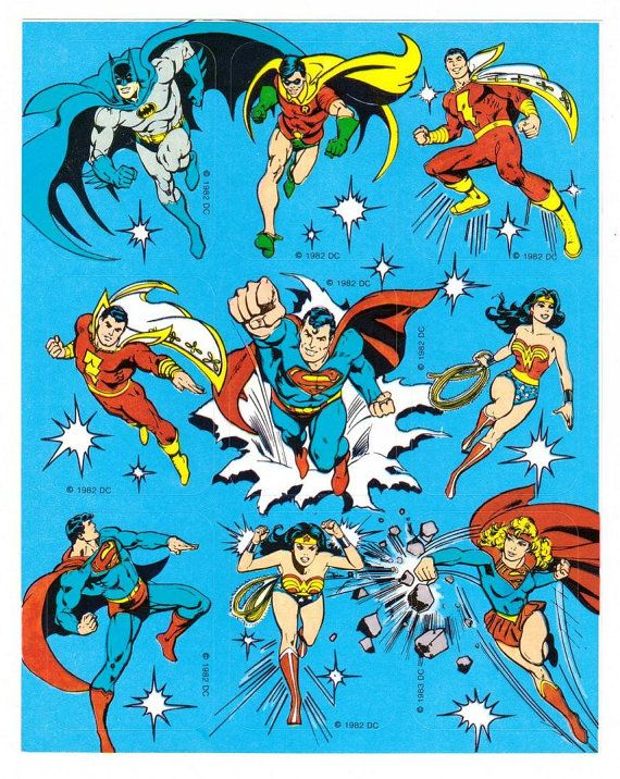 Vintage 80's DC Comics Character Stickers Justice League Batman Superman Wonder Woman Captain Marvel Shazam Robin Super Girl