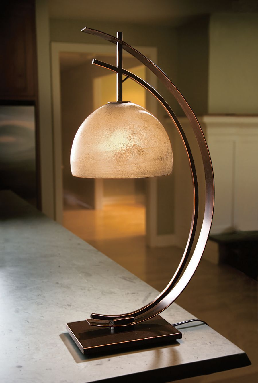 Half Moon Table Lamp Acacia Lifestyle Curves Soften The Shape