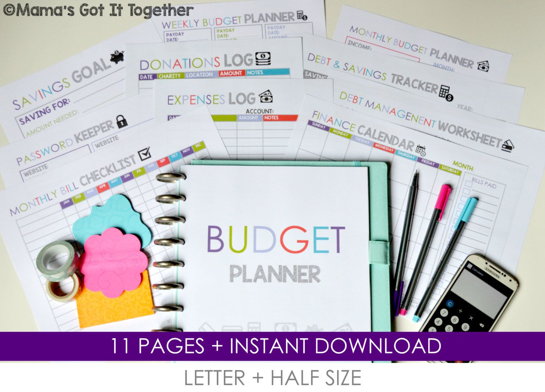 Budget Planner Diy Budget Organizer Letter Size Half