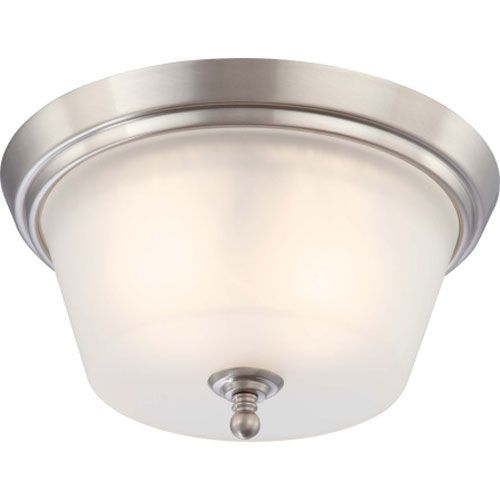 bed/study: Surrey Brushed Nickel Two Light Flush Mount With Frosted Glass Nuvo Lighting Flush Mount F