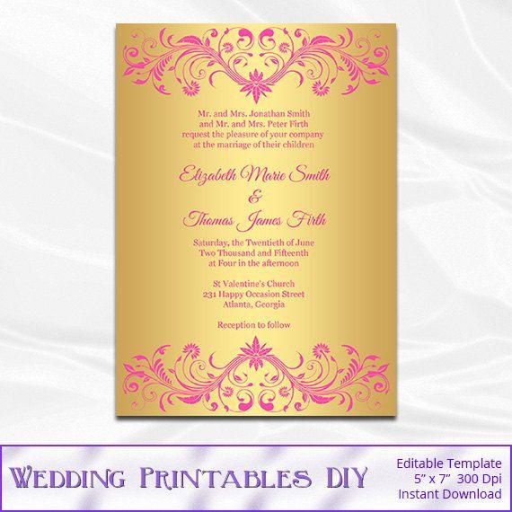 Pink and Gold Wedding Invitation Template  by WeddingPrintablesDiy