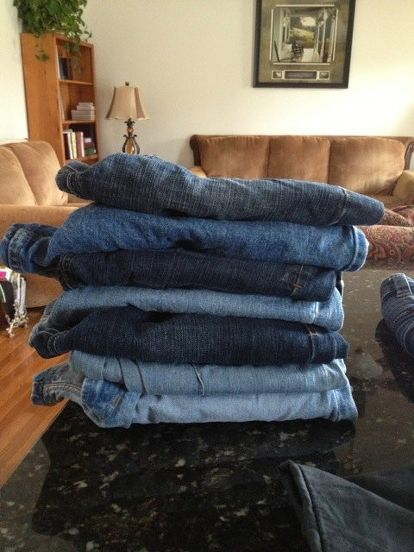 denim rug give old jeans new life diy, reupholster, Start with a pile of old jeans