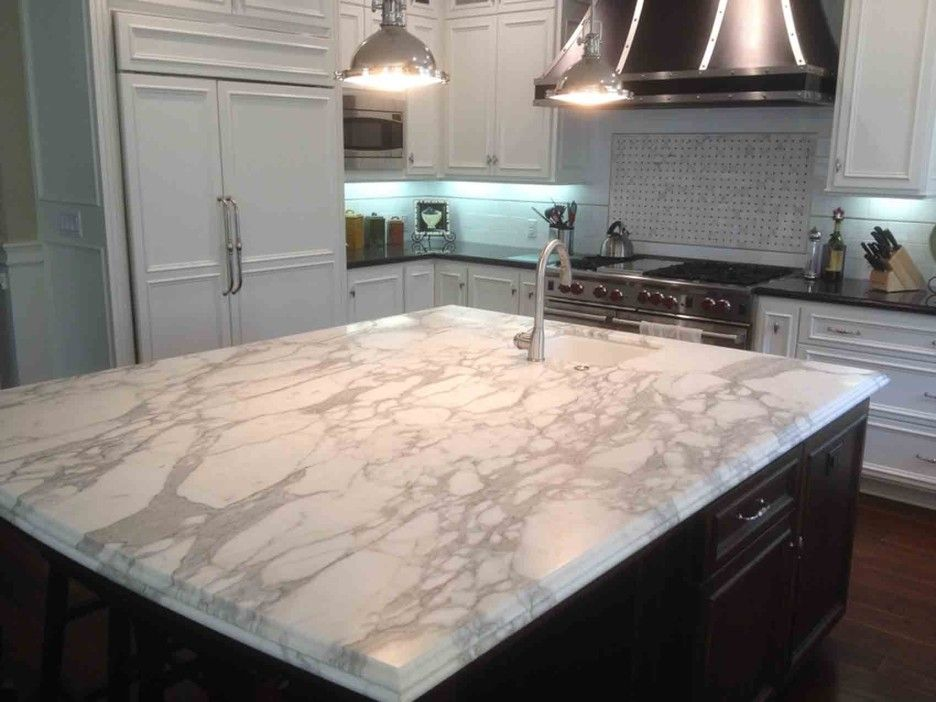 Interior White Cultured Marble Kitchen Island Countertop With Double Ogee Edge Profile Under Metal Shade Pendant Lamps