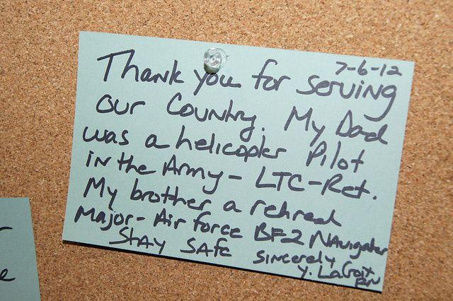Thank A Soldier Art Installation  Note