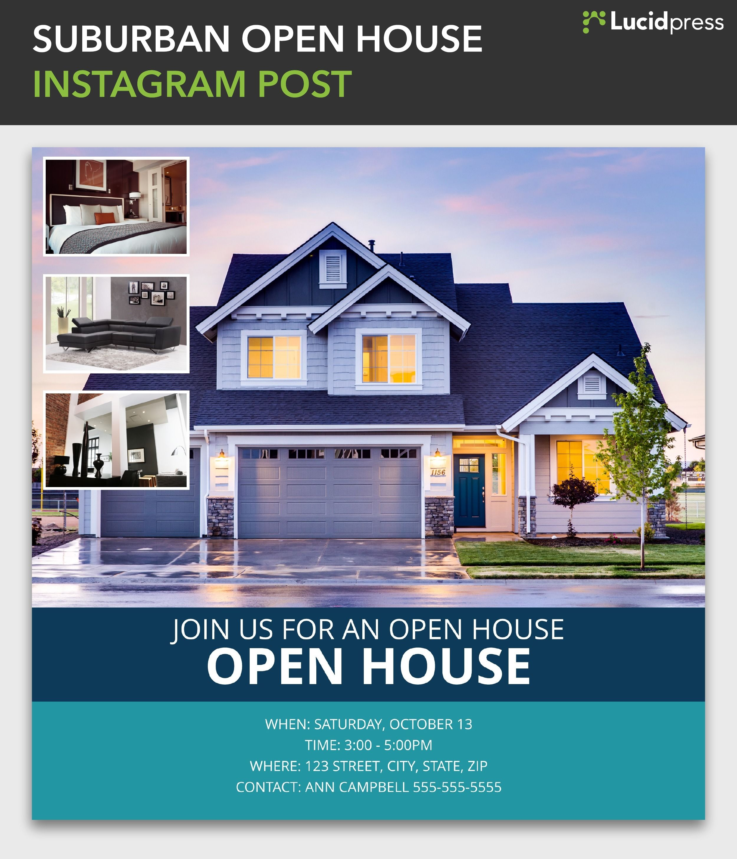 Suburban Open House Instagram Post Template Open House Real Estate Real Estate Houses Renting A House