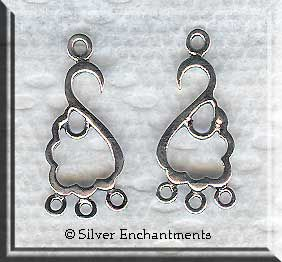 Sterling Silver Left and Right Swag Chandelier Earring Parts (2 ...