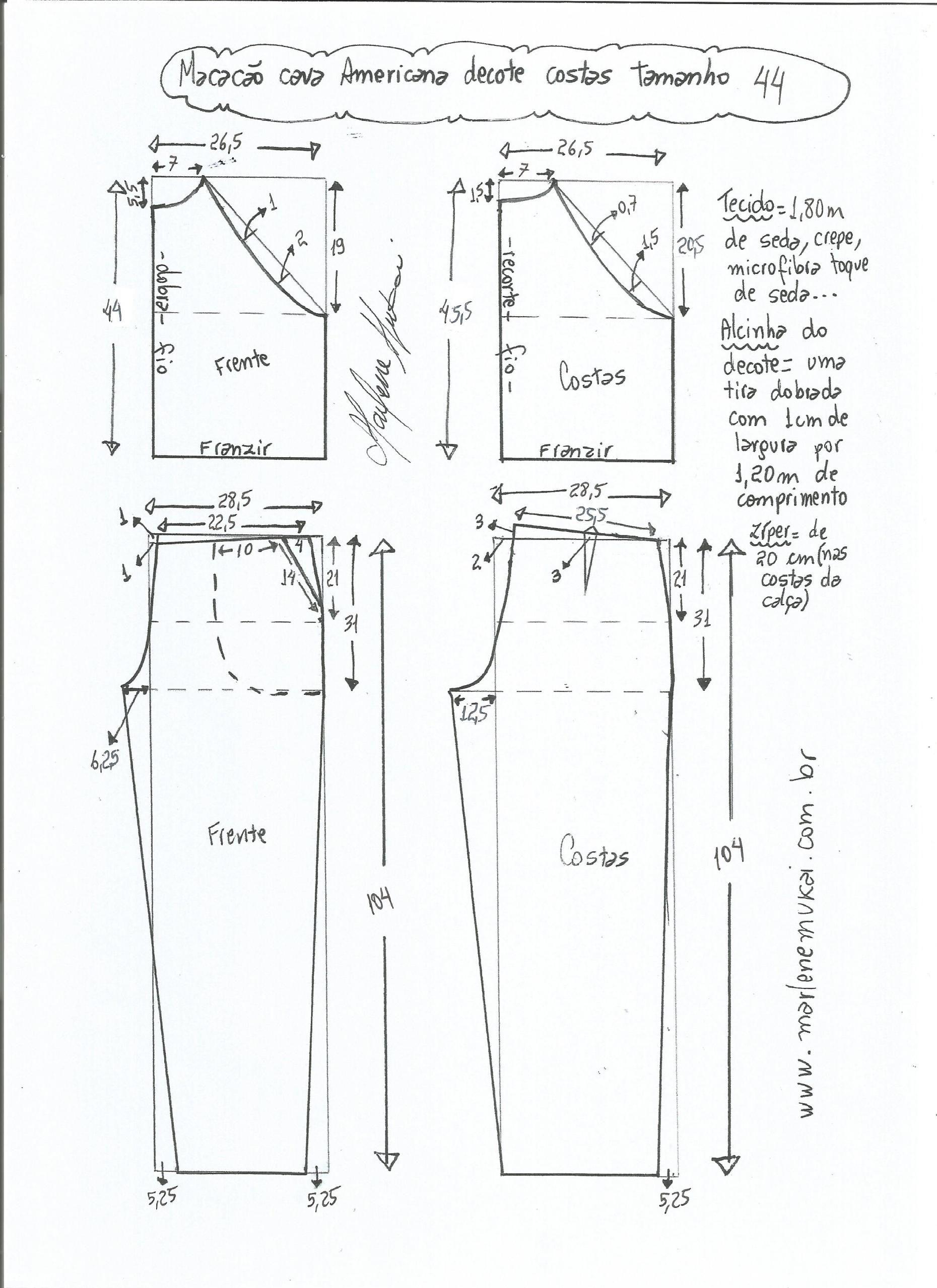 Macacão com cava americana | m | Pinterest | Costura, Pantalones y ...