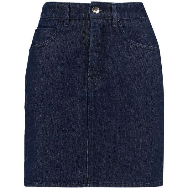 MM6 Maison Margiela Satin-paneled denim mini skirt (£68) ❤ liked on