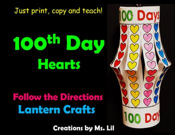 100th Day Of School Craft 100 Day Math 100 Hearts 100th