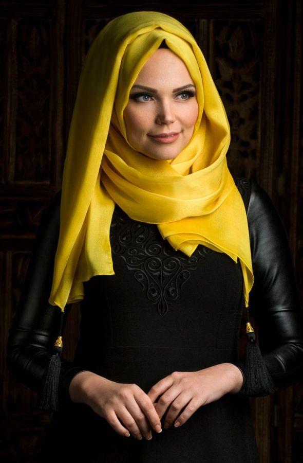 Muslima Wear Püsküllü Şal 34001 Şeker Sarı - Tesettür Fırsat
