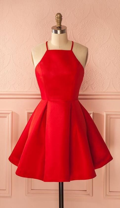 Sleeveless Red Halter Spaghetti Straps A Line Pleated Satin Short Homecoming Dresses