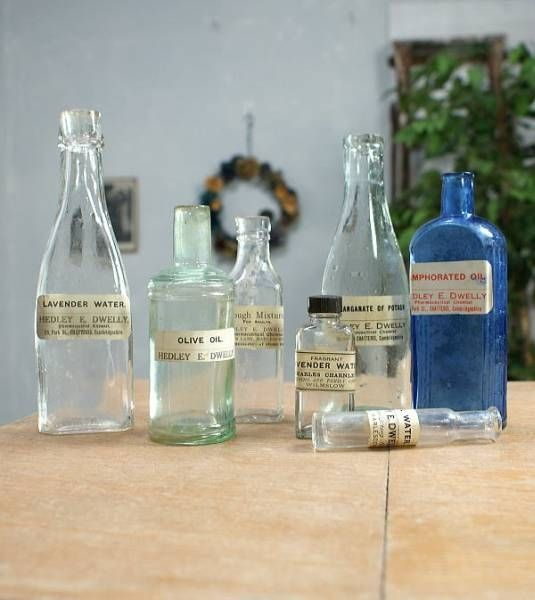 Glass Bottles イギリスアンティークガラスボトル薬品ラベル等7本1003. インテリア 雑貨 家具 Antique ¥11000yen 〆05月28日