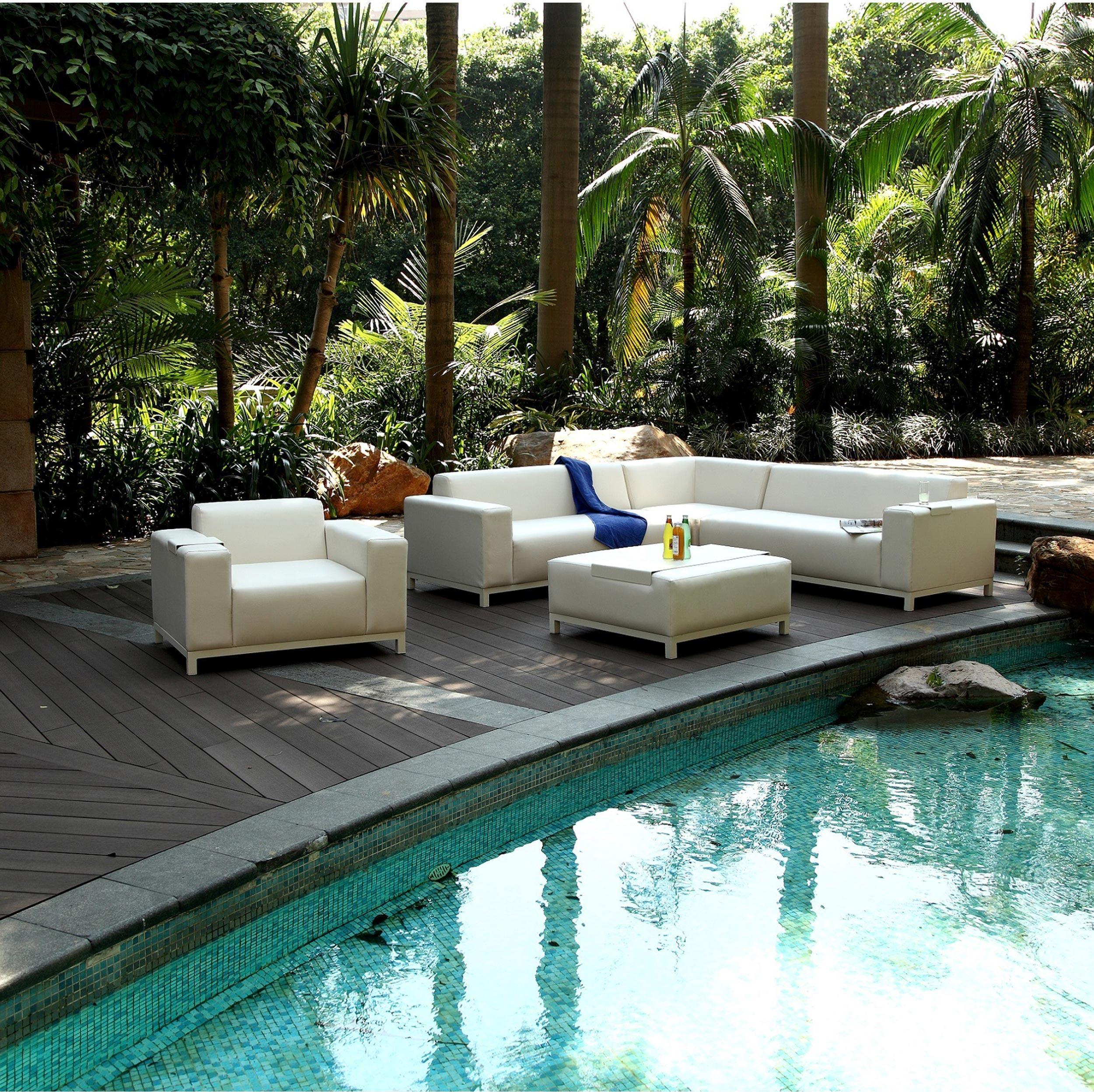 Salon Bas De Jardin Dubai Blanc 6 Personnes Salon De Jardin