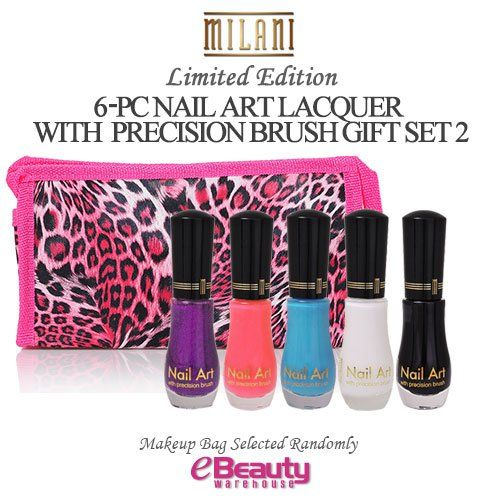 MILANI 6PC GIFT SET- NAIL ART LACQUER with precision brush (SET2) >>> Check this awesome product by going to the link at the image.