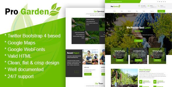 Pro Garden Gardening Lawn Landscaping Html Template By