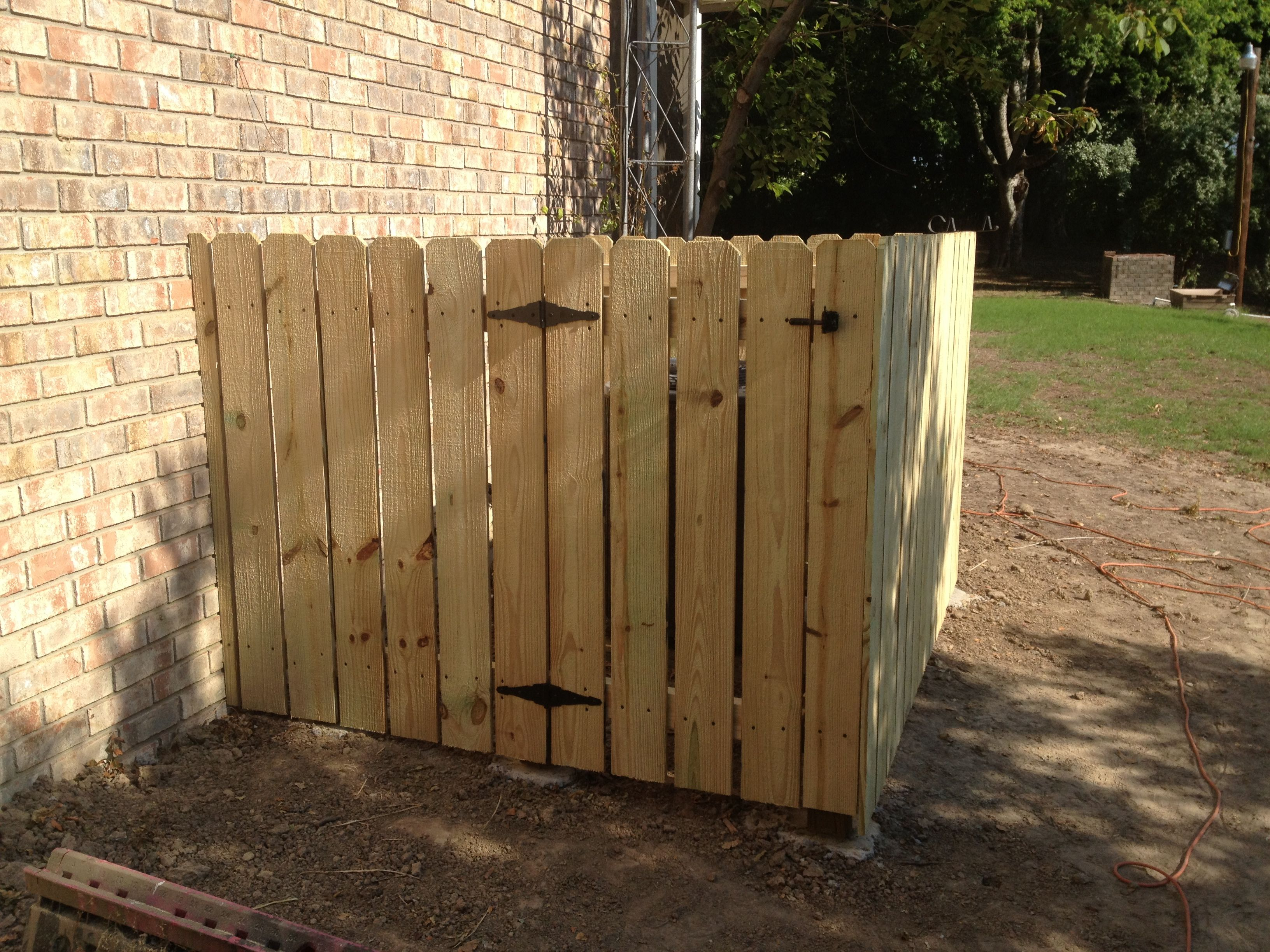 Finished Fence Around Air Conditioner With Gate