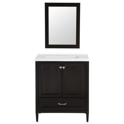 Home decorators collection claxby 30 in vanity in charcoal with cultured marble vanity top in