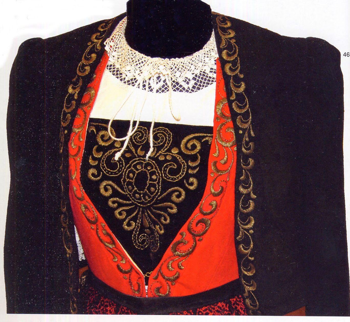 Gressoney-La-Trinité  (Valle d'Aosta) - Costumi Walser, particolare del ricamo