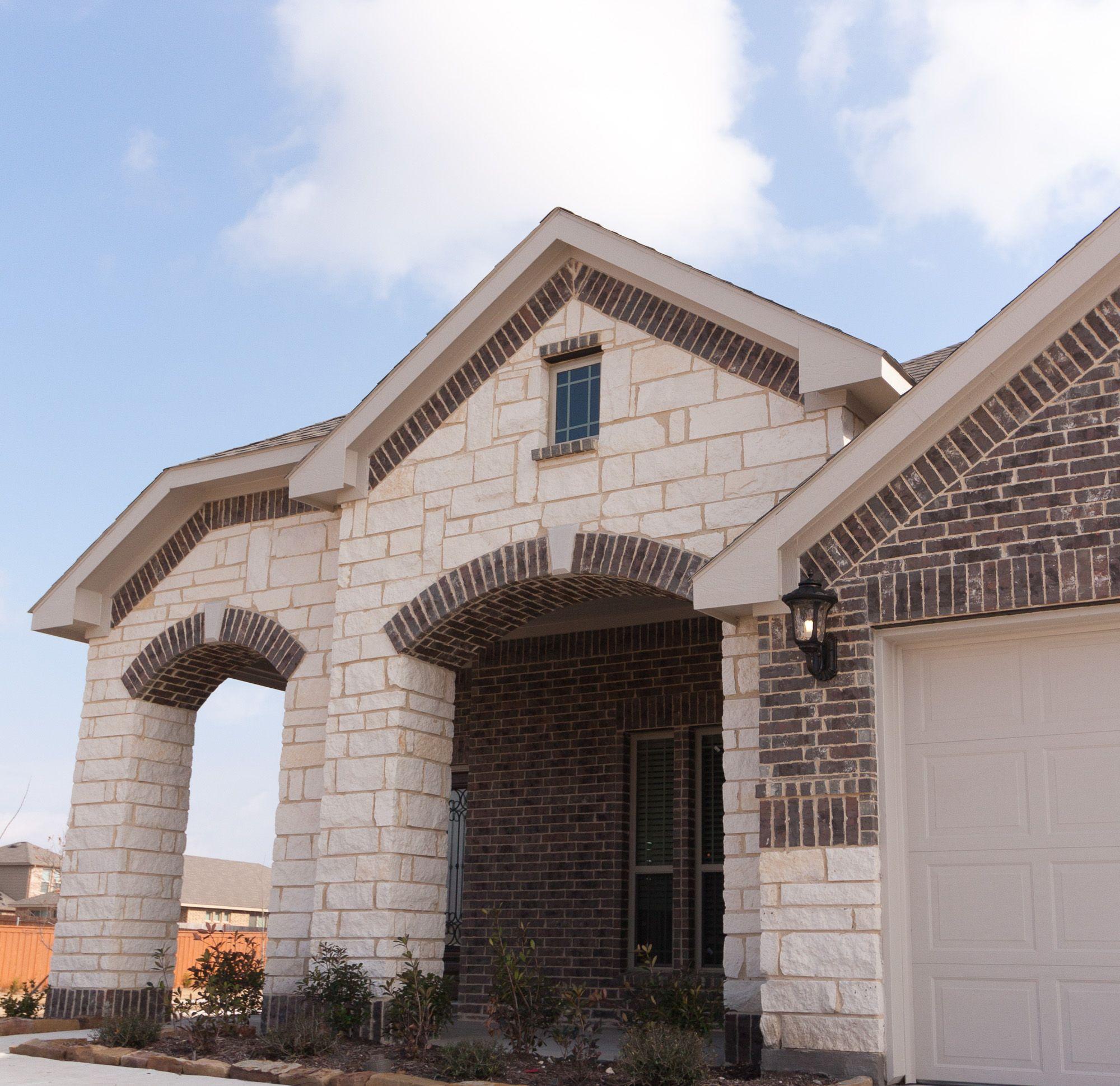 Stone Exterior Homes: Stone: White Limestone Brick: Burlington Antique
