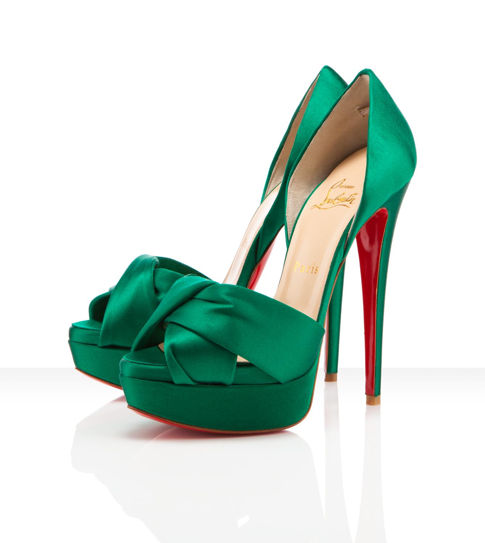 Christian Louboutin Green Satin Open Toe pump #wedding shoes