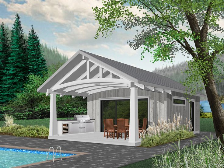 028p 0001 Cabana Or Pool House Plan With Outdoor Kitchen