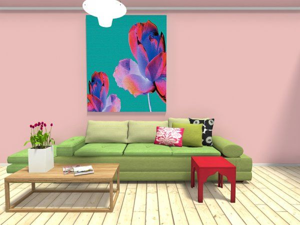 3D floor plan for a living room with pink walls, hardwood flooring ...