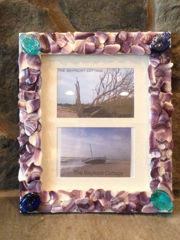 This Picture Frame Holds Two 4 X 6 Inch Photos The Frame Itself Measures About 13 By 11 In Large Picture Frames Beach Picture Frames Sea Shell Decor