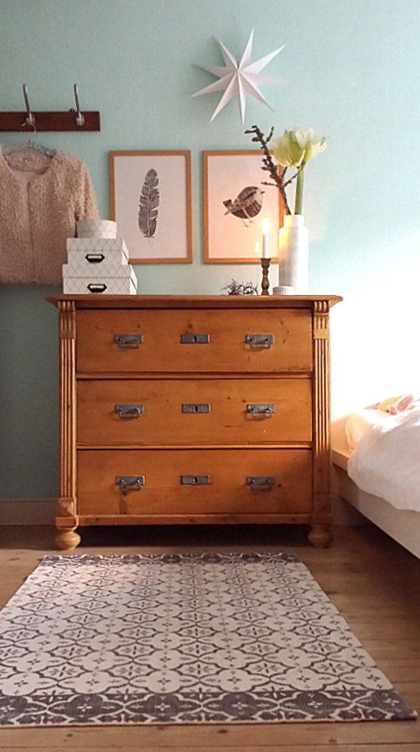 CIELO Bett Doppelbett 140 x 200 Kernbuche Buche massiv geölt - schlafzimmer ideen orange