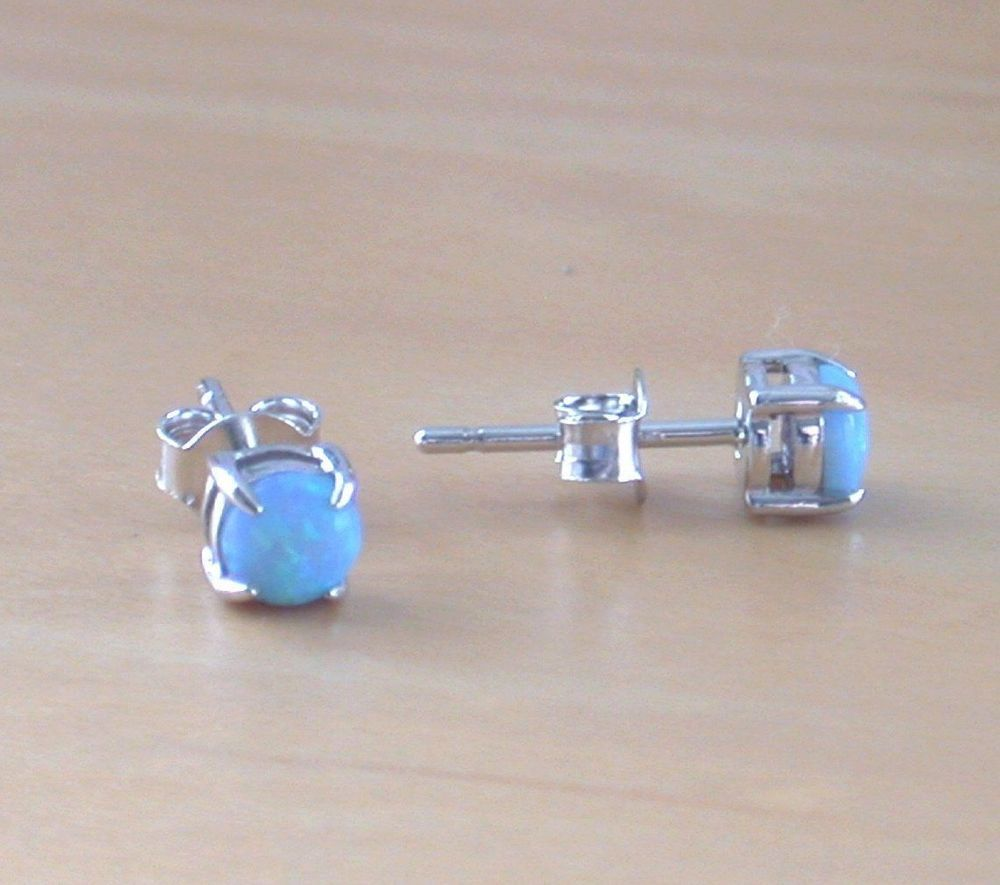 925 Blue Opal Stud Earrings Studs Sterling Silver Uk