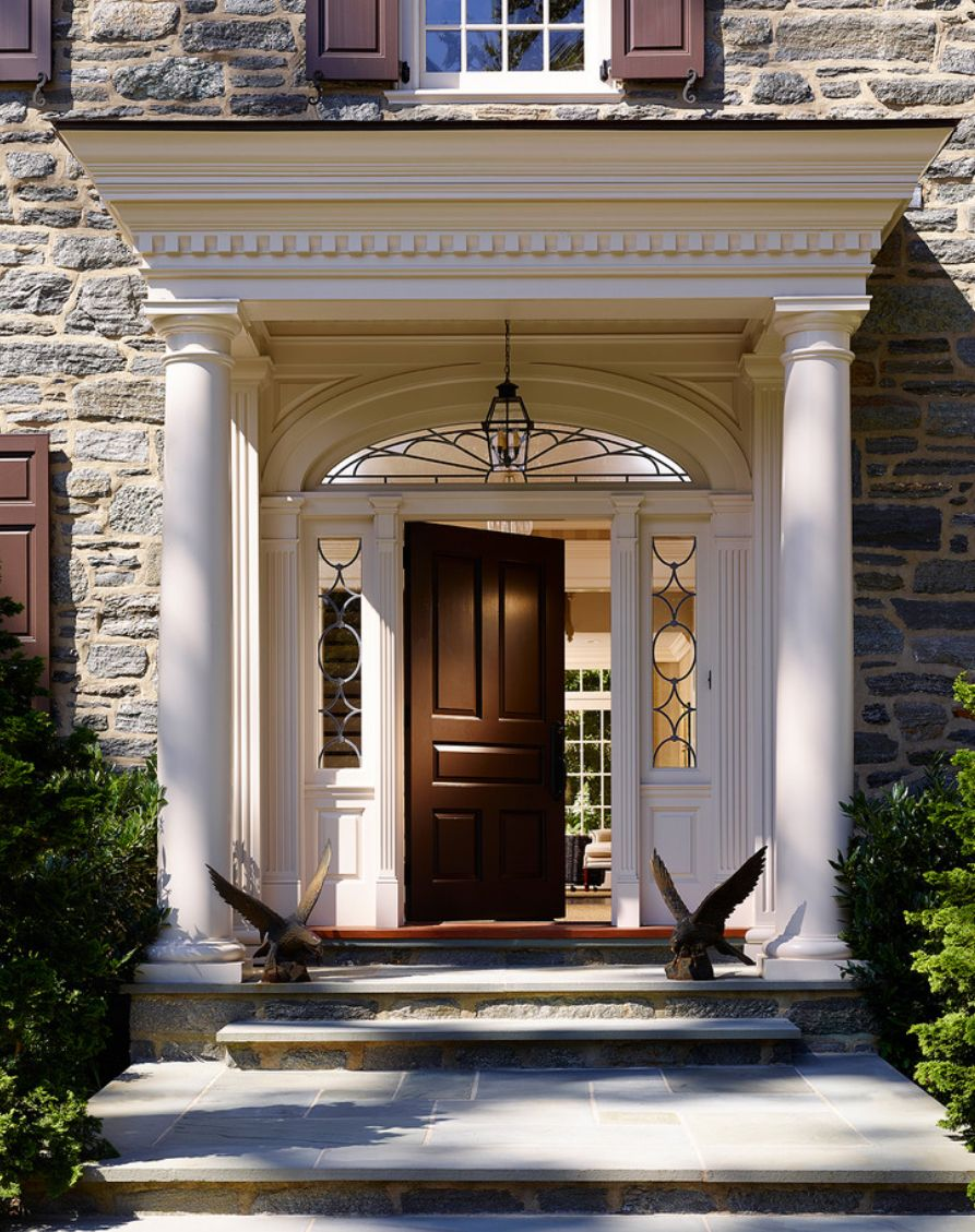 Awesomely Beautiful Grand Portico Check Out The Detailing Colonial Front Door House Front Door Front Porch Design