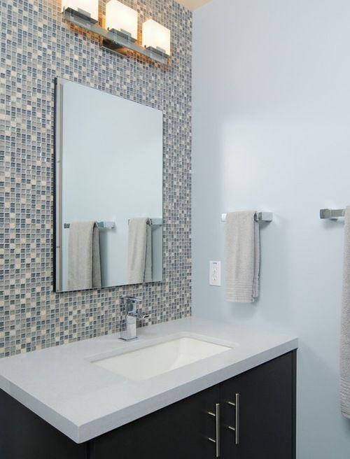Absolute White Quartz Bathroom Vanity And Mix Mini Glass Mosaic
