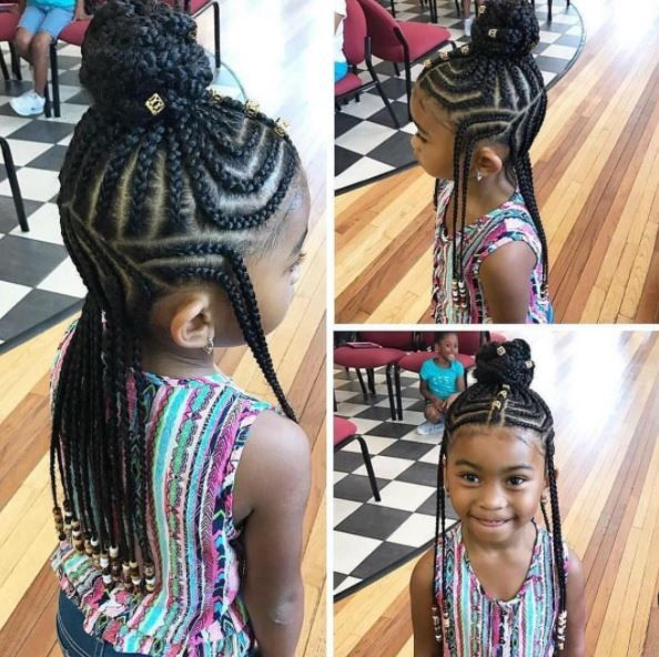 11 Little Girls Rocking Fulani Inspired Braid Styles Tutorial Emily Cottontop Black Kids Hairstyles Lil Girl Hairstyles Kids Braided Hairstyles