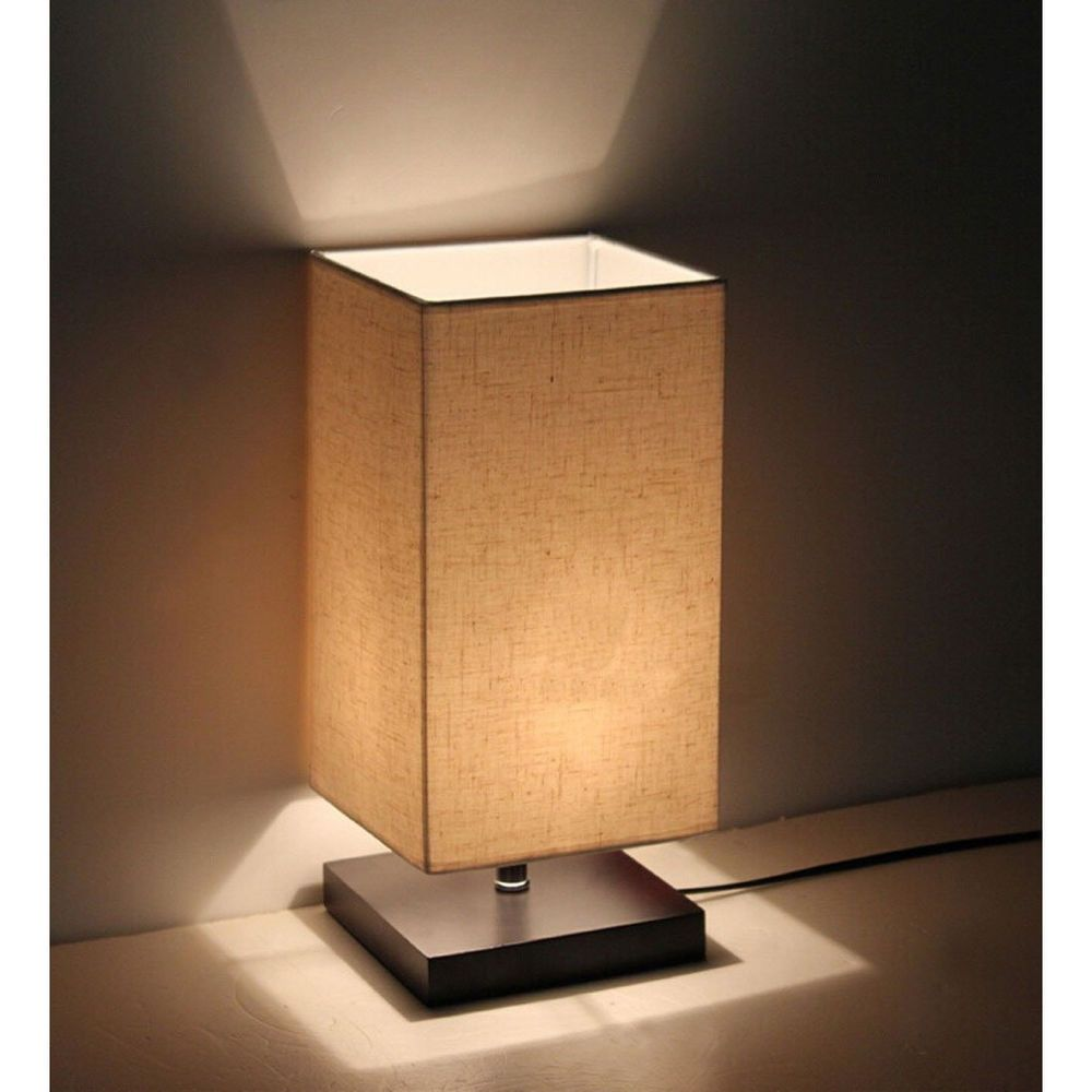 Details About Bed Side Desk Lamp 120v Wood Stand Linen Shade Living Room Table Night Light New Bedside Table Lamps Table Lamps For Bedroom Table Lamp