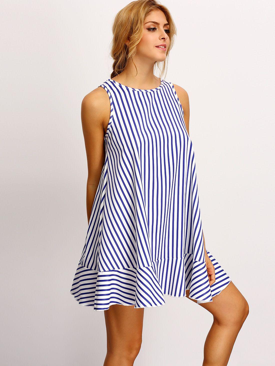 f19c907dee62 Tent Dresses Online & Vertical Stripes Tent Dress BLUE   MakeMeChic ...