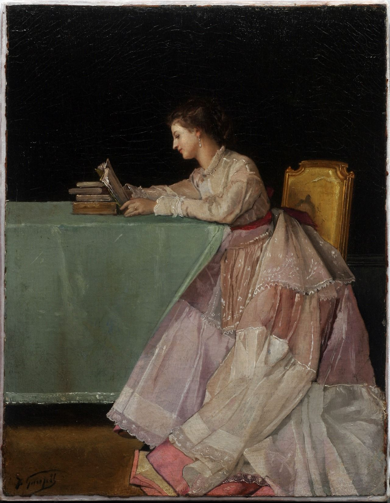 Seated Woman. Jules Adolphe Goupil (French, 1839-1883). Oil on canvas. Vanderbilt University Fine Arts Gallery. As with Seated Woman, Goupil was known for painting genre scenes and portraits with a wonderful tightness and exactitude. The face of the woman, the books, and her dress are highlighted by means of the background black, floor brown, and tablecloth green.