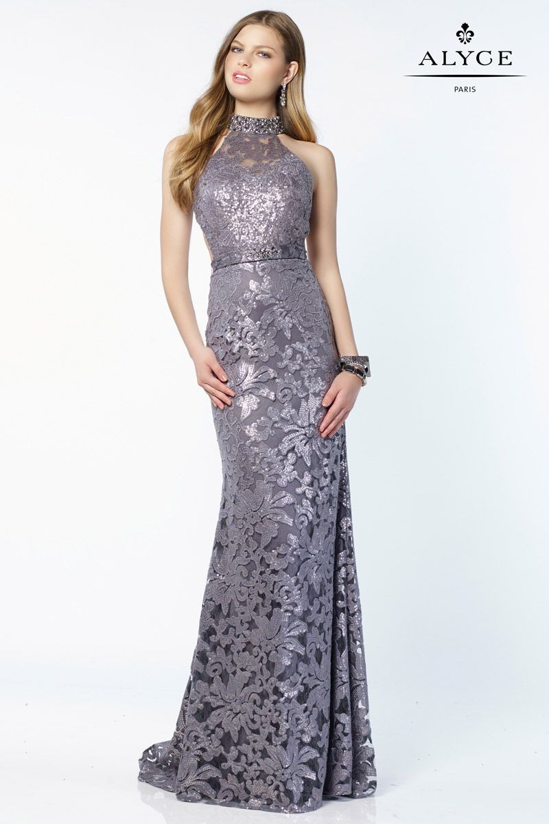 1f05304e Alyce Paris 6786 is a sequin laced gown with a halter style neck and an  open thick strap back.