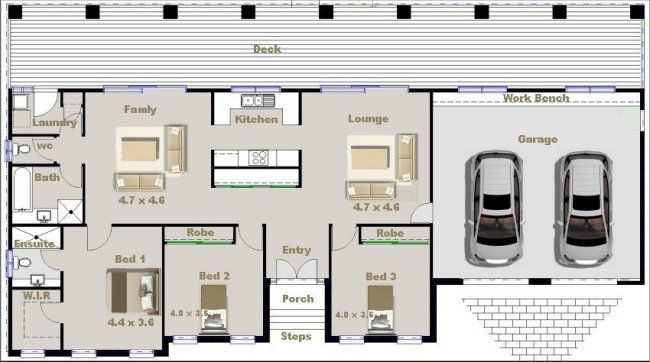 3 Bed 2 Living Areas 2 Car 3 Bedroom House Plans In
