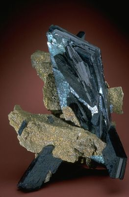 Vivianite with pyrite (R19035) from the National Mineral Collection