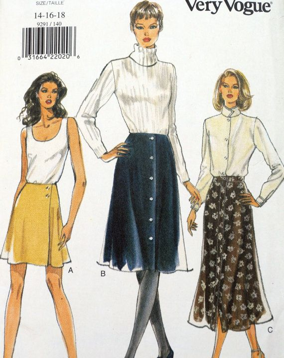 Vogue 9291 - Skirts In Three Styles Pattern - Larger Size, Size 14 ...