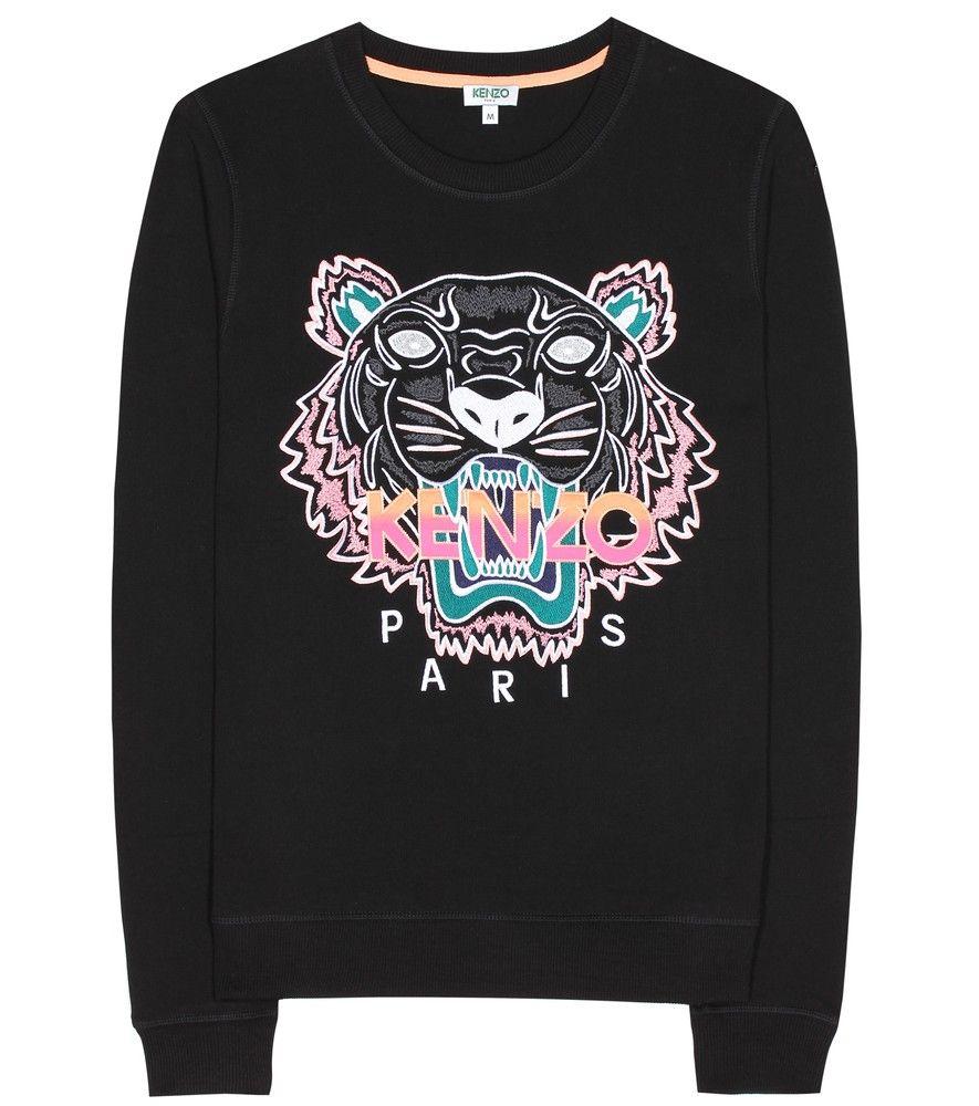 1ca39d5d854 Kenzo - Sweat-shirt en coton brodé - Kenzo continue de vous faire rugir de  plaisir avec son motif tigre iconique. Ce sweat-shirt en coton noir orné de  ...