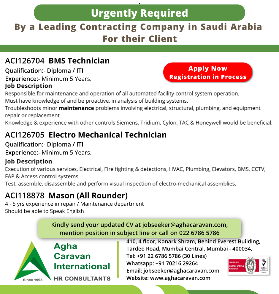 Urgently Required #BMS #Technician, #Electro Mechanical