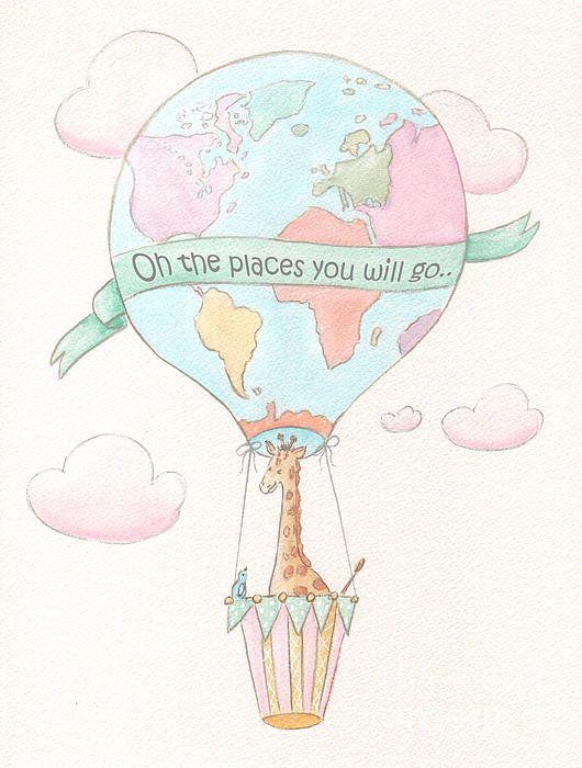 Giraffe Travel Nursery Hot Air Balloon Poster By