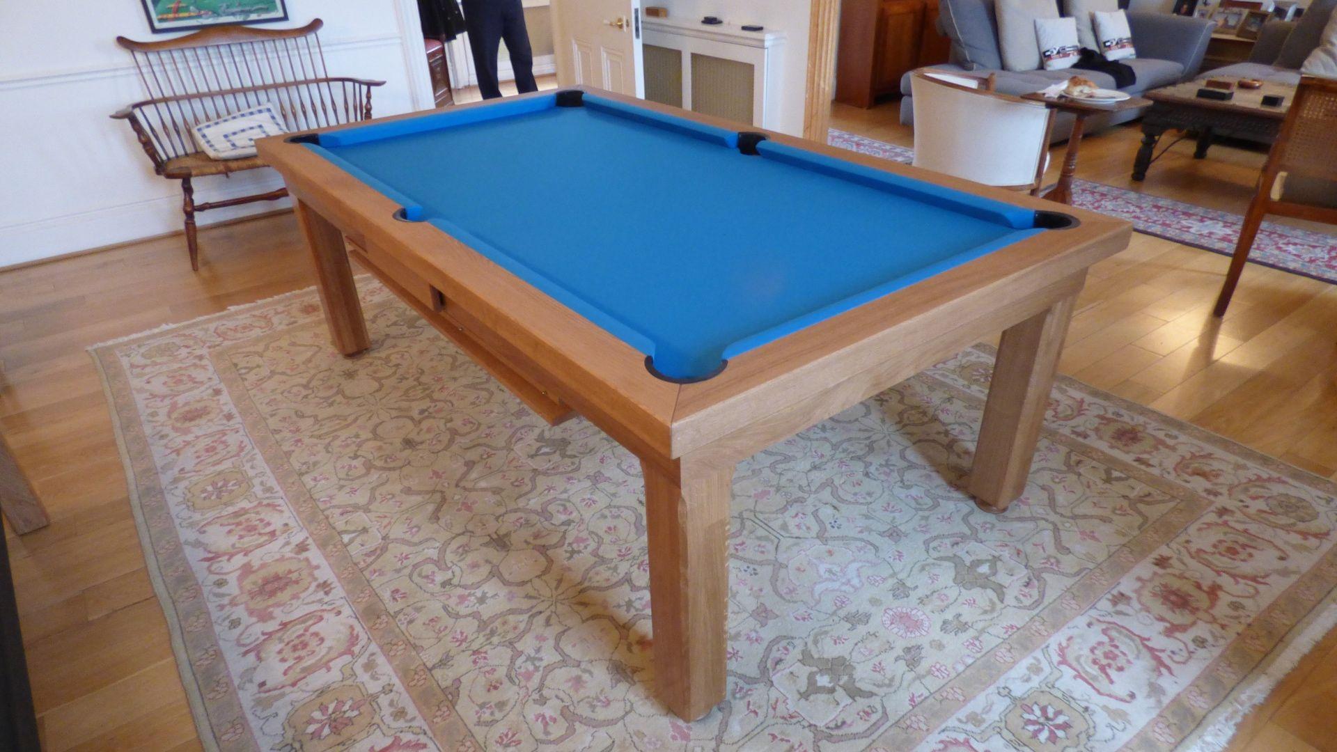 Ft Amercian Modern Pool Table Oak Matt Finish Simonis Electric - Electric blue pool table