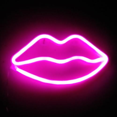 Led Sign Home Decor: Lip Neon Signs LED Decor Light Wall Decor For Christmas