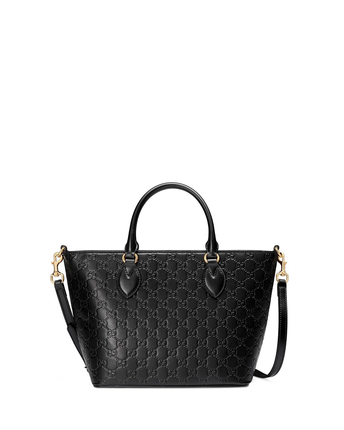 Gucci Guccissima leather tote bag with golden hardware. Rolled top ...