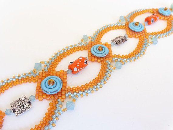 Tangerine and Aqua Bracelet